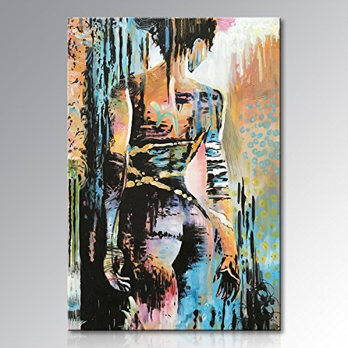 Large Nude Girl Wall Art Handmade Naked Woman Abstract Figure Oil Painting on Canvas by Winpeak Art