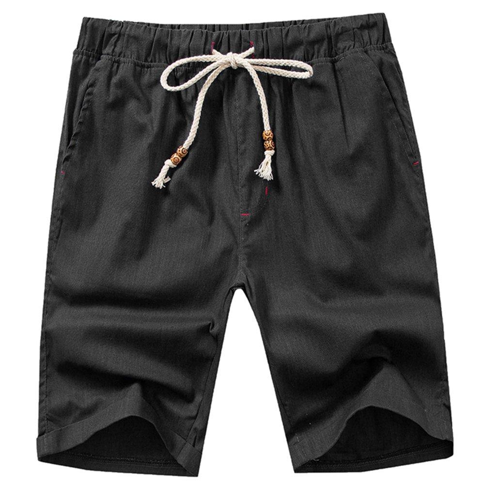 HULANG Mens Summer Casual Linen Elastic Waist White Beach Shorts Drawstring (Black, X-Large)