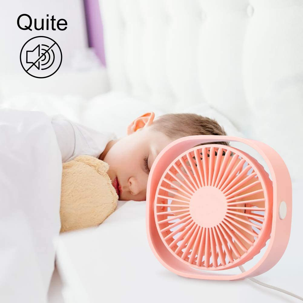 Home Outdoor Travel Small Table Personal Portable Mini Pocket Fan 3 Speed and Quiet Design for Office USB Desk Fan