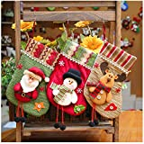 Christmas Stockings Set of 3, Santa, Reindeer, Snowman Xmas Character 3D Plush Linen Hanging Tag Knit Border for Christmas Decorations and Party Accessory (Style A)