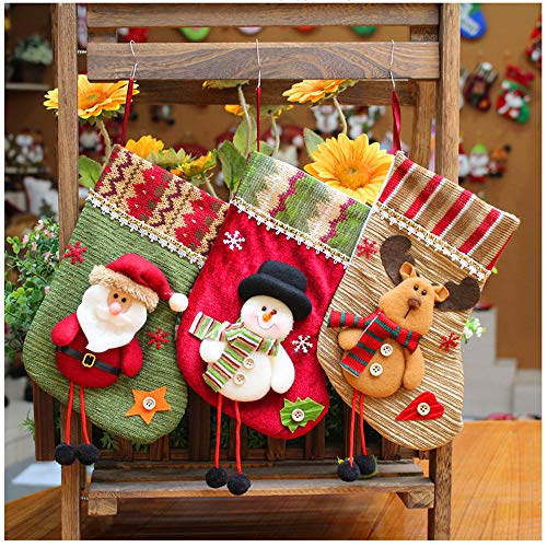 OPACC Christmas Stockings Set of 3, Santa, Reindeer, Snowman Xmas Character 3D Plush Linen Hanging Tag Knit Border for Christmas Decorations and Party Accessory (Style A)