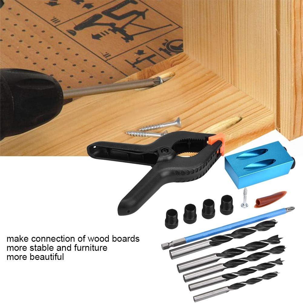 34pcs 15 /° Kit de forage de trou de poche en alliage daluminium Ensemble de guide de forage oblique pour bois Positionneur Locator Tool