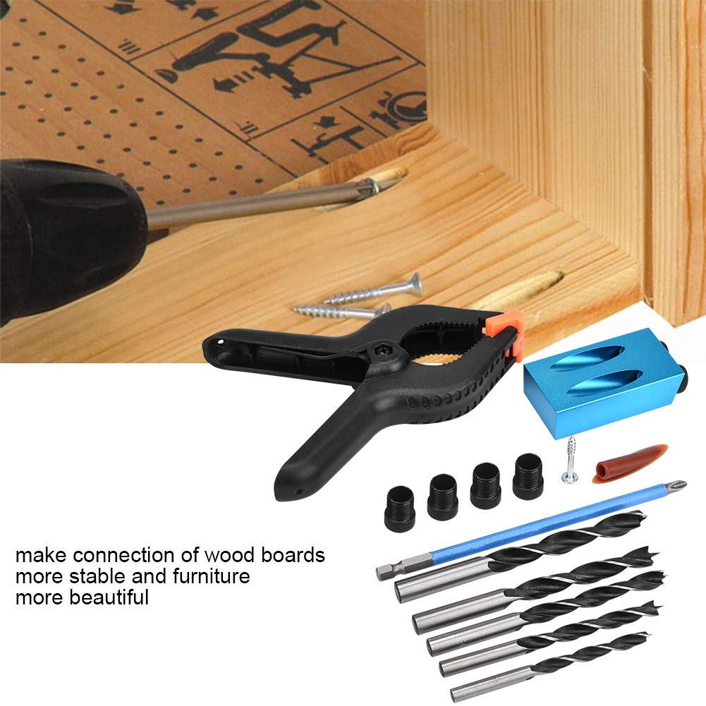 outil dassemblage de menuiserie facile /à utiliser et /à installer kit de per/çage de trous de poche 15 /° Guide de per/çage dans le bois