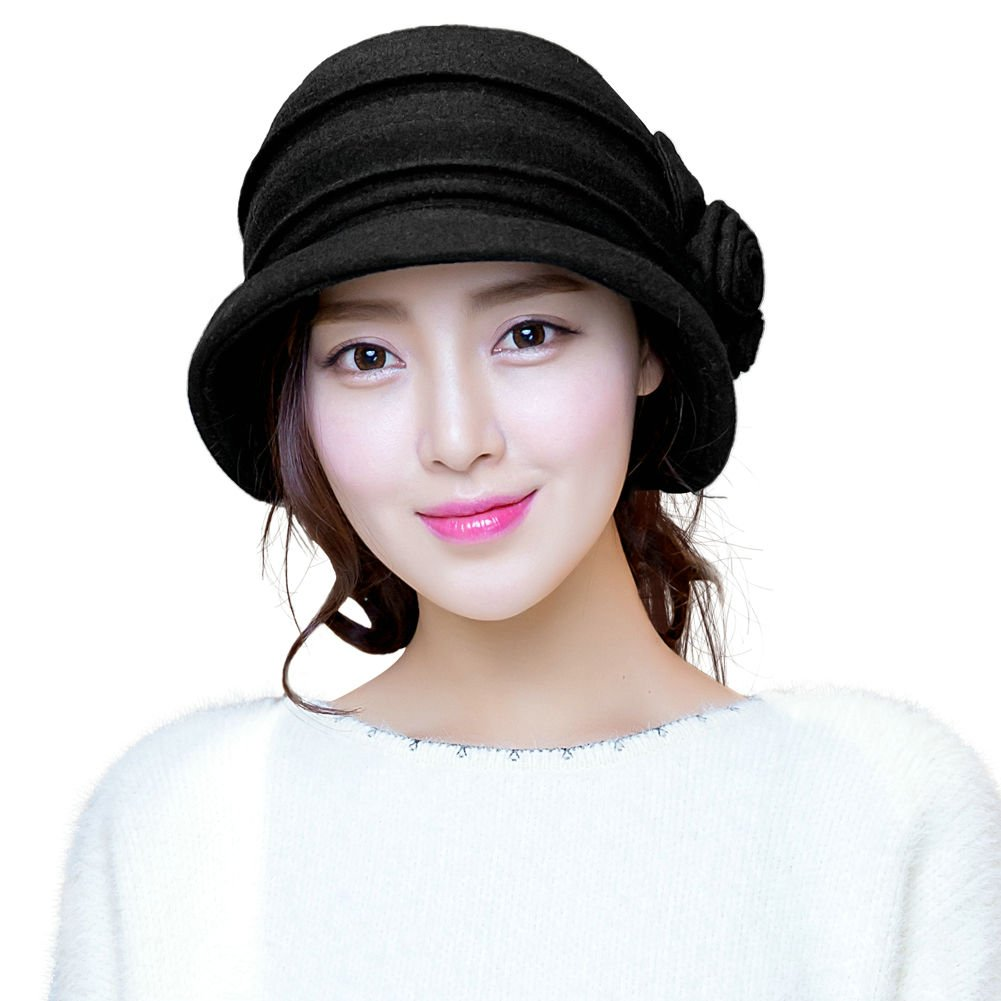Womens Black Vintage Wool Felt Cloche Bucket Hat Winter Fall Packable by Comhats
