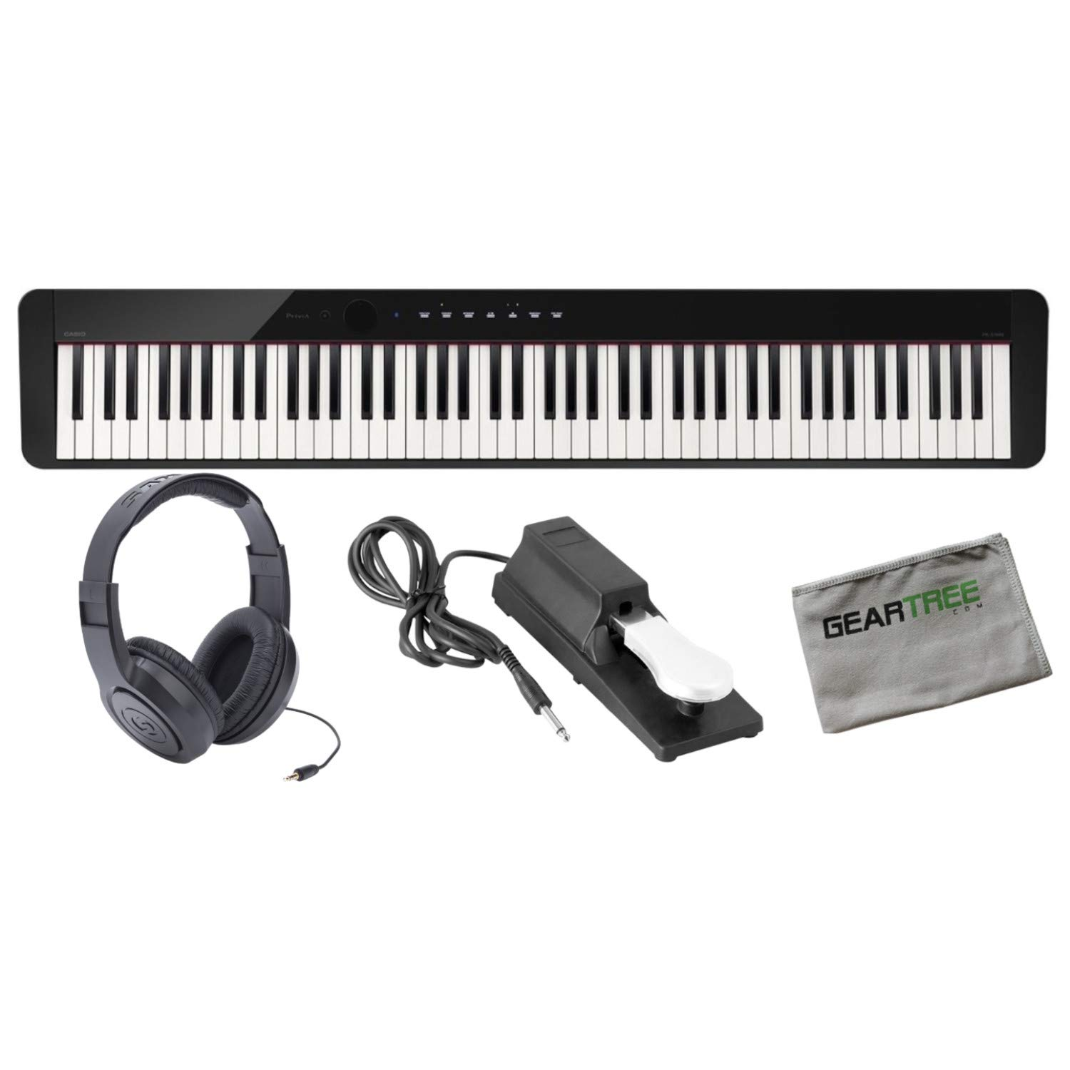 Casio PX-S1000BK 88 Weighted Key Digital Piano w/Cloth, Sustain Pedal, Headphon by Casio