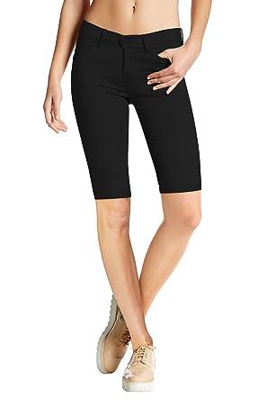 524bab74dbba HyBrid & Company Womens Perfectly Shaping Hyper Stretch Bermuda Shorts  B44876 Black Small