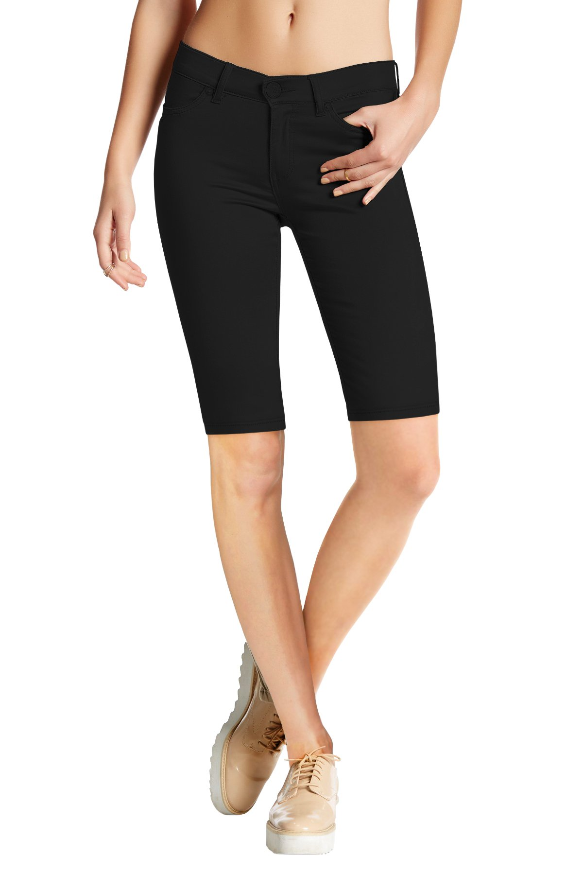 HyBrid & Company Womens Perfectly Shaping Hyper Stretch Bermuda Shorts B44876 Black XLarge