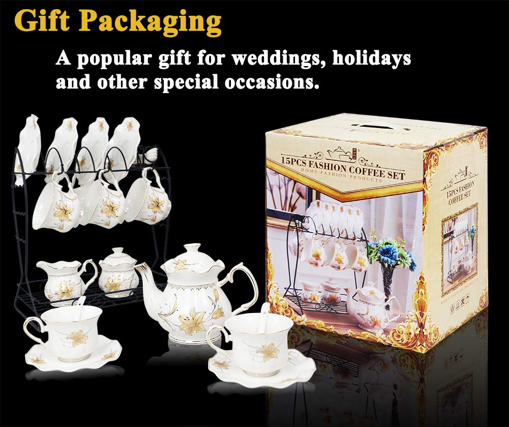Porcelain Ceramic Coffee Tea Sets 21 pieces with Metal Holder,Cups and Saucers Sets and Spoons for 6,with Teapot Sugar Bowl Cream Pitcher by CHP (Image #7)