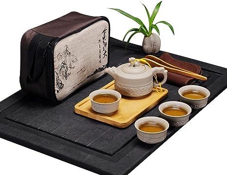 Yellow Vintage Ceramic Tea Set Portable Chinese Kung Fu Tea Set Teapot Travel Tea Set