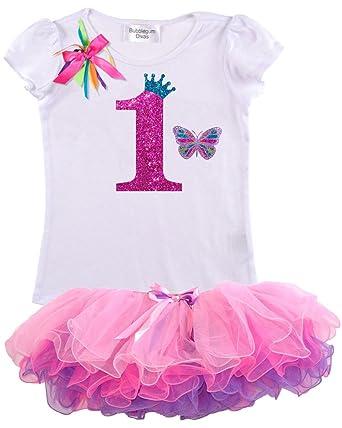 de51feeea6 Bubblegum Divas Baby Girls 1st Birthday Rainbow Princess Butterfly Tutu  Outfit 3