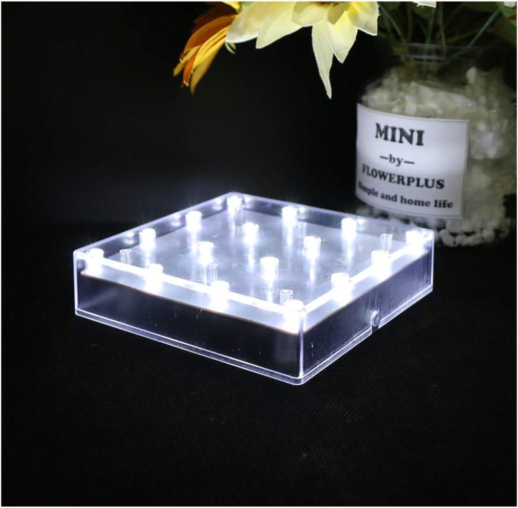 ARDUX LED Jarrón Base Luces, Alimentado por Batería Pedestal Display Stands Plate Jarrón Base Luz para Hogar Planta Jardín Fiesta Decoración, plástico, Blanco, 5inch Square