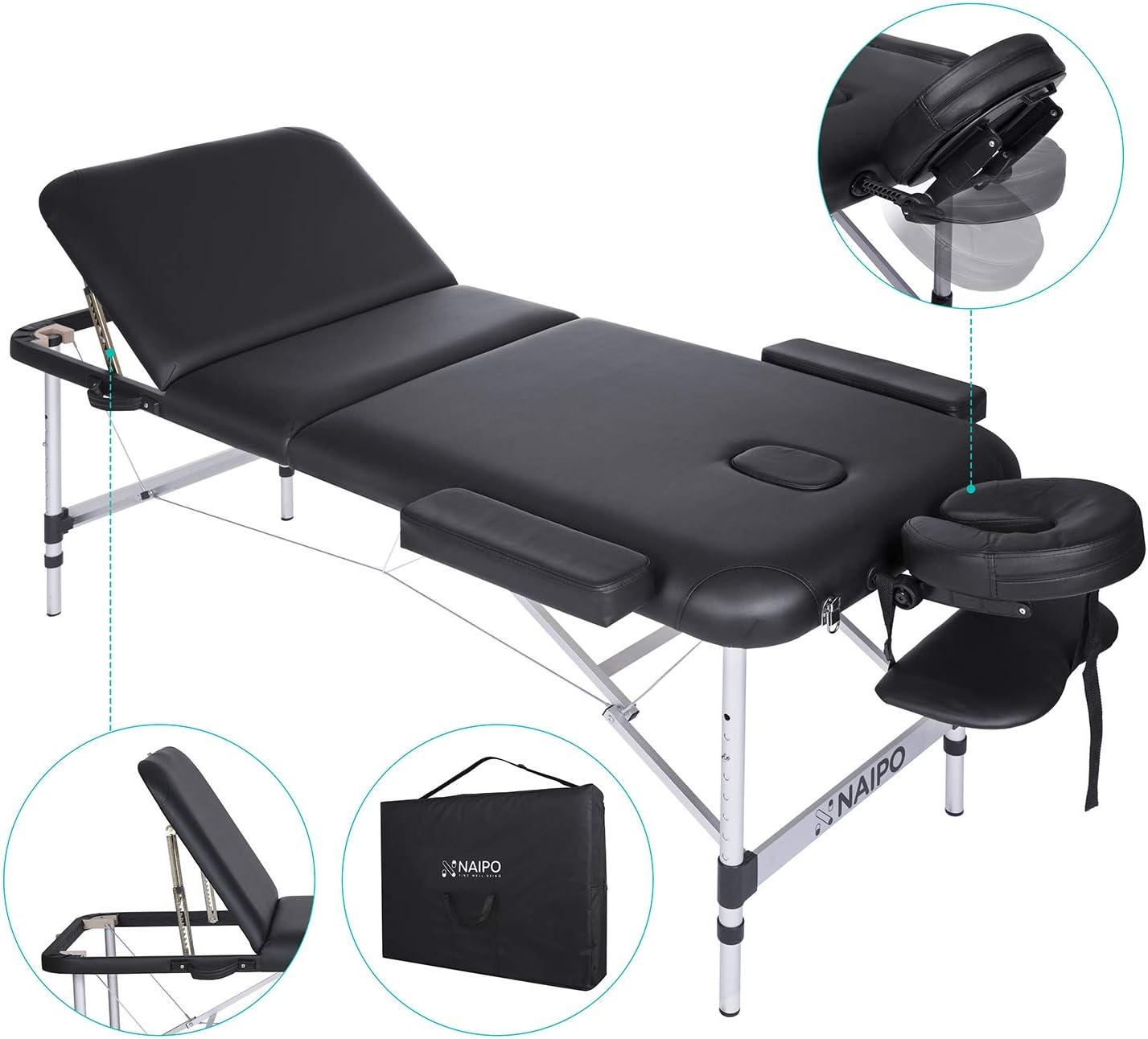 Naipo Mesa de Masaje Plegable anchos 70cm de 3 Secciones Camilla Portátil y Profesional con Patas de Aluminio Respaldo Regulable Bolsa de Transporte Negro