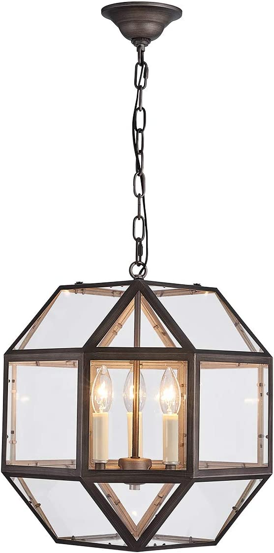 ANJIADENGSHI Round Lantern Pendant Light Vintage Lantern Iron Cage Hanging with 3 E12 Bulbs Global Lantern Chandelier for Traditional Dining Room Bar Cafe, Nickel