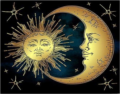 Astrology Poster Moon Face Art Antique Moon Decor Vintage Celestial Moon Art Print