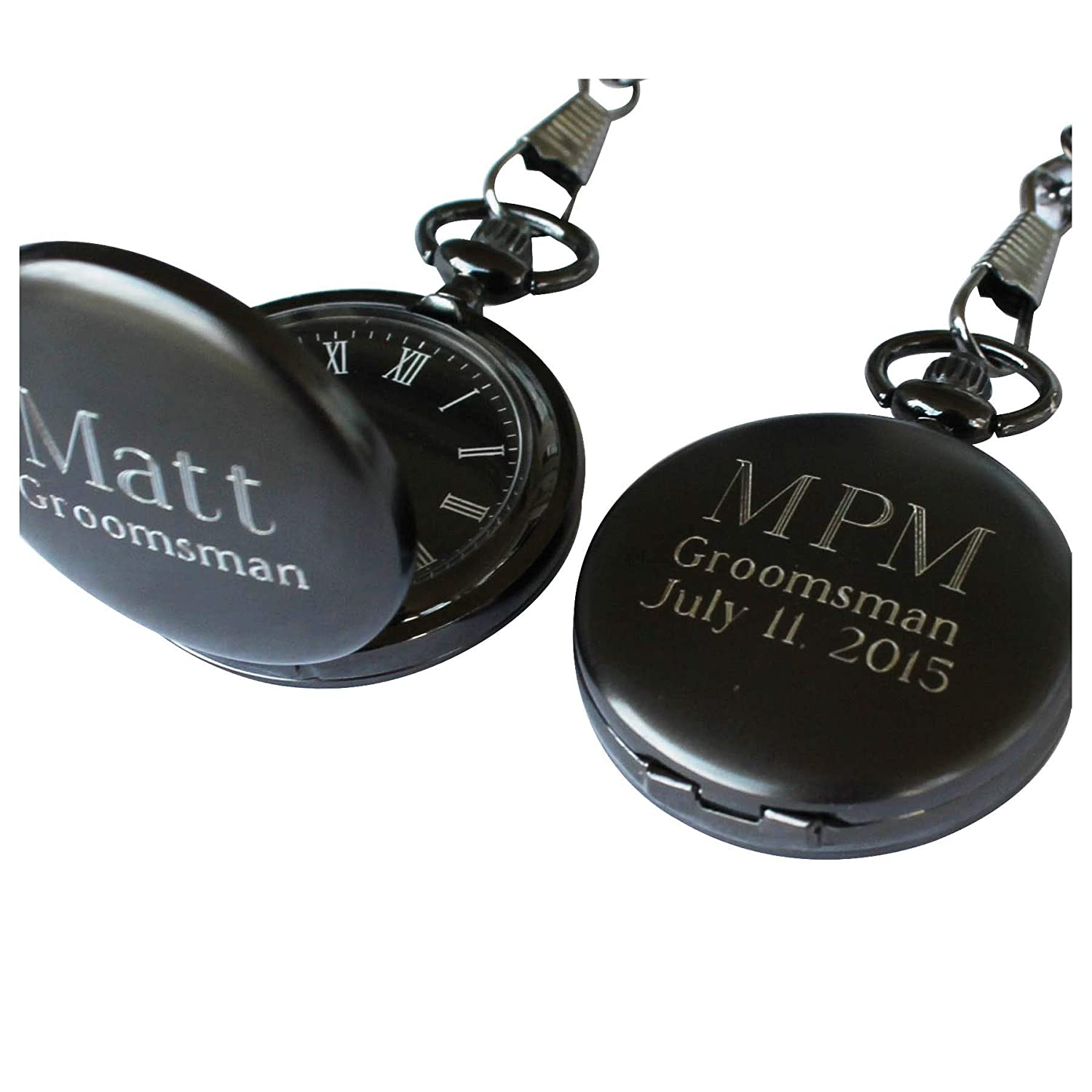 Personalized Gunmetal Quartz Pocket Watch with Chain – Groomsmen Wedding Party Gifts – Engraved for Free