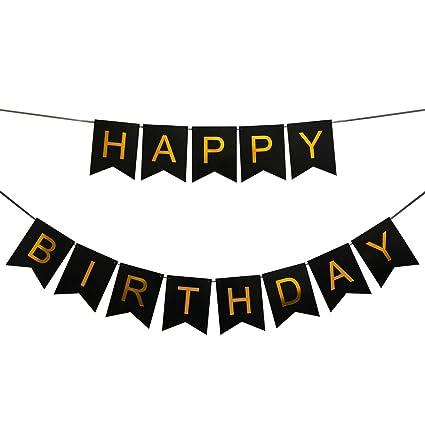 Amazon Com Innoru Happy Birthday Banner Black And Gold Birthday