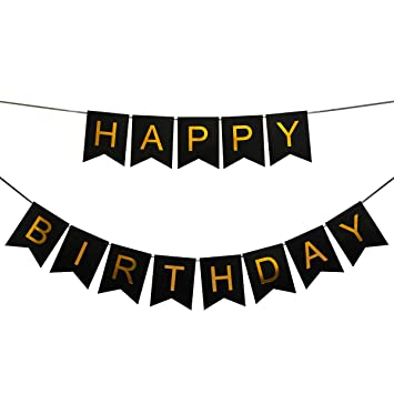 Amazon.com: INNORU(TM) Happy Birthday Banner Black and Gold ...