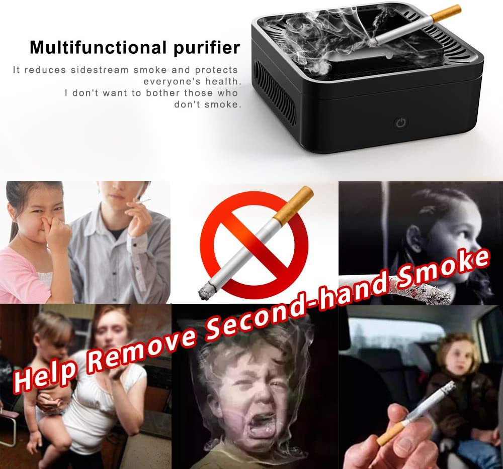 2 Pcs Filter Included. GoStar Smokeless Ashtray Air Purifier Multifunctional Negative Ion Air Fresher Odor Secondhand Smoke Remover USB Rechargeable for Car//Indoor//Outdoor