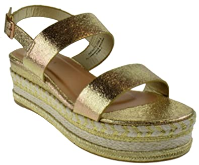 84ed2fed383f Bamboo Infinity 05M Womens Double Band Espadrilles Open Toe Platform Sandals  Gold Metallic 5.5