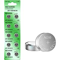 SKOANBE 10PCS AG10 SG10 LR1130 1.5V Button Coin Cell Battery