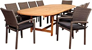 International Home Miami Amazonia City Villa 11 Piece Teak/Wicker Double-Extendable Oval Dining Set with Grey Cushions