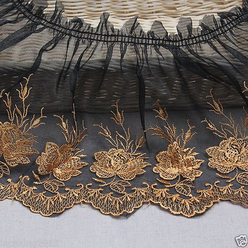 1yard Broderie Anglaise Gathered Ruffle Eyelet Lace Trim 18cm Black YH ()