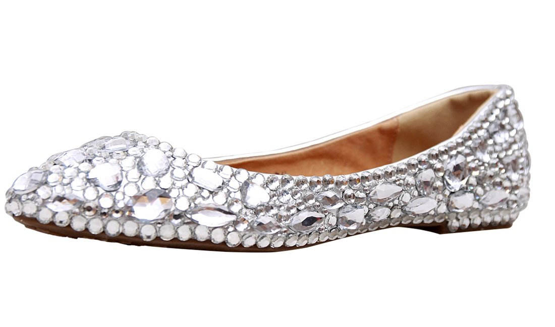 Minishion MZLL030 Women's Fashion Comfortable Handmade Rhinestone Silver Satin Wedding Party Evening Prom Flats 9 M US B016UVZUHK 7.5 B(M) US|Silver-rhinestone