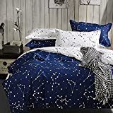 Hxiang Blue Color constellation 3PC Duvet Cover Sets,Space Style Kids Bedding Sets 1 Duvet Cover+2 PillowcasesKing Size 1 X Duvet Cover: 220x240cm(87x95inches) 2 X Pillowcases: 48x74cm(19x29inc (King)