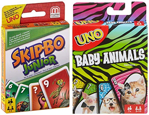 Mattel Games UNO Baby Animals with Skip Bo Junior Game Bundle (Baby Games For Bo)