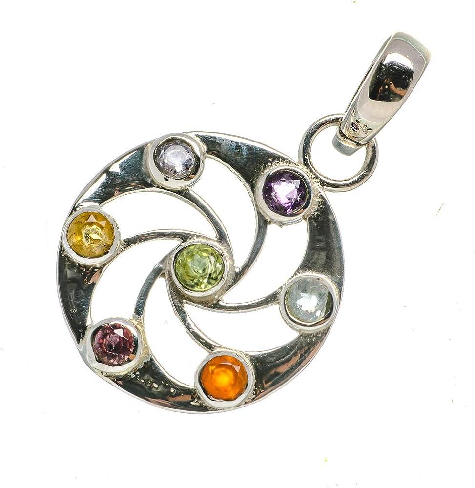 Vintage PD689853 Ana Silver Co Multi-Stone Chakra Flower Pendant 1 1//4 - Handmade Jewelry Bohemian 925 Sterling Silver