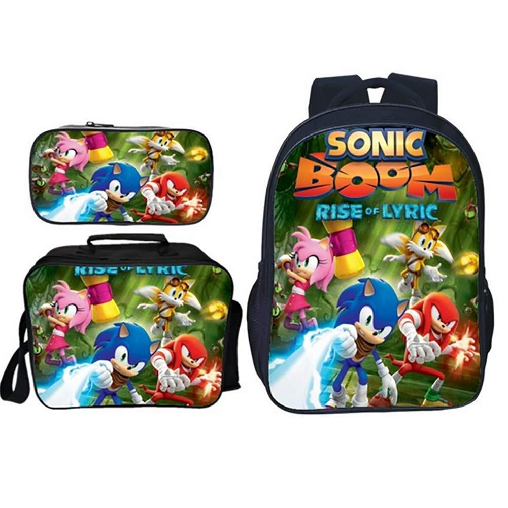 TREES Set de Bolsas de Libros 3D impresión Sonic Modelo Impermeable Mochilas Escolares con Bolsa de Almuerzo con Aislamiento térmico. y Cartuchera 3 ...