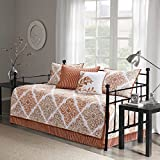 5 Piece Spice Orange White Floral Daybed Set, Geometric French Country Shabby Chic Motif Flower Cottage Leaf Pattern Bedding Day Bed Lounge Ottoman Resting Place Bedroom Bedskirt Pillows, Polyester