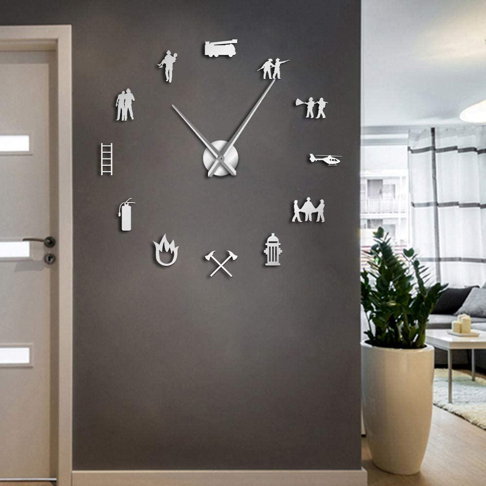 ZXMGZBIAO 3D DIY Pompier Bureau d'horloge Murale Grande Horloge Watch équipement de Bouche d'incendie Sauvetage Rescue Pendule Moderne métallique