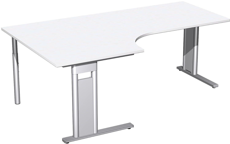 Geramöbel PC-Schreibtisch links starr, C Fuß Blende optional, 2000x1200x720, Weiß/Silber