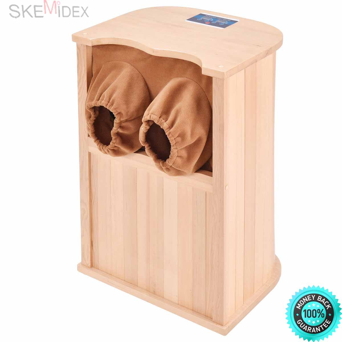 SKEMiDEX---Infrared Wooden Foot Sauna Dry Bath Health Spa & Therapy w/ Carbon Fiber Heaters nstead of traditional sauna methods, this infrared foot sauna uses the power of tourmaline stones