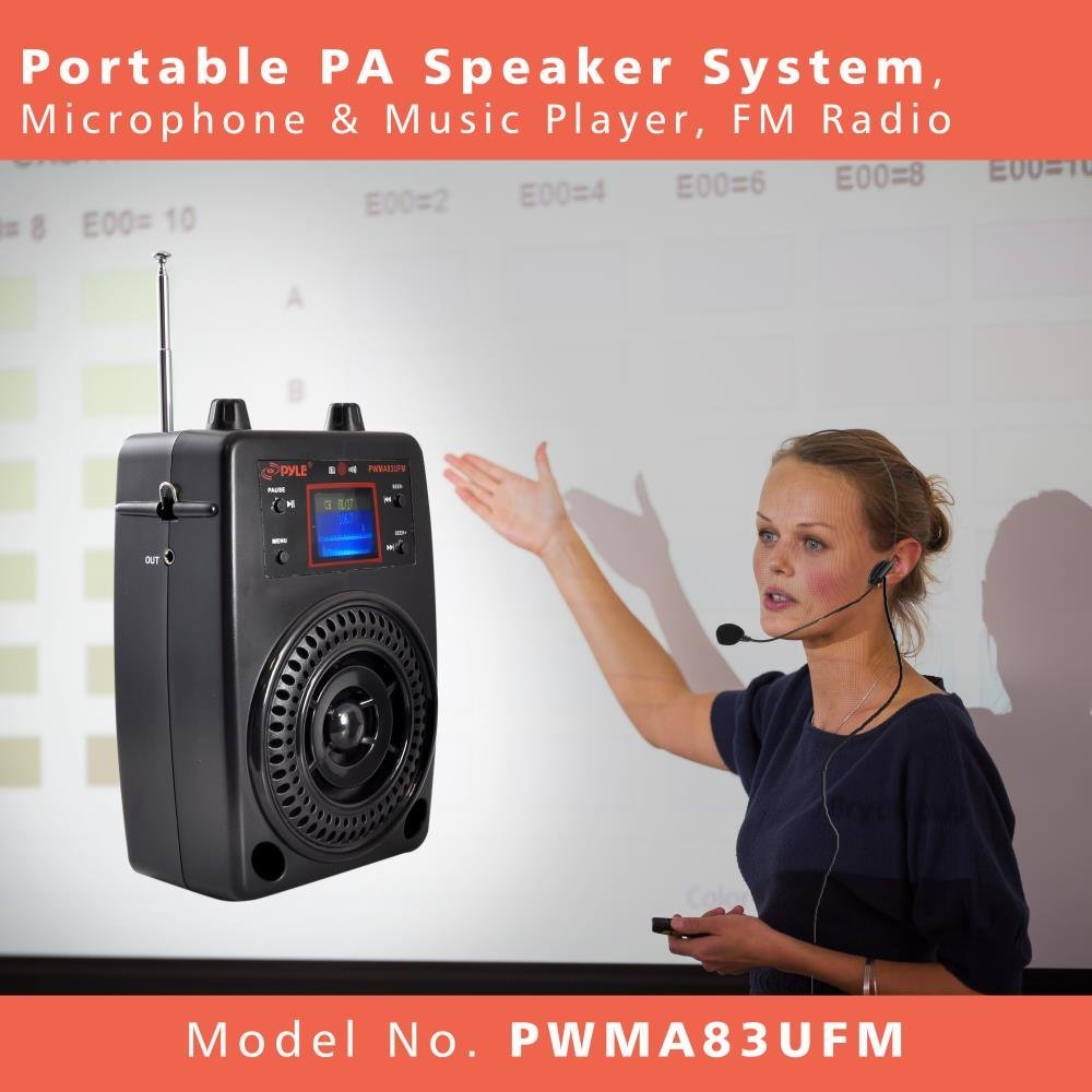 Pyle Portable PA System, Wireless Microphone Kit, Compact Stereo System, FM Radio, LCD Display, USB, Rechargeable Battery,  Includes Lavalier Microphone Headset, Outdoor Surround Sound (PWMA83UFM) by Pyle (Image #5)