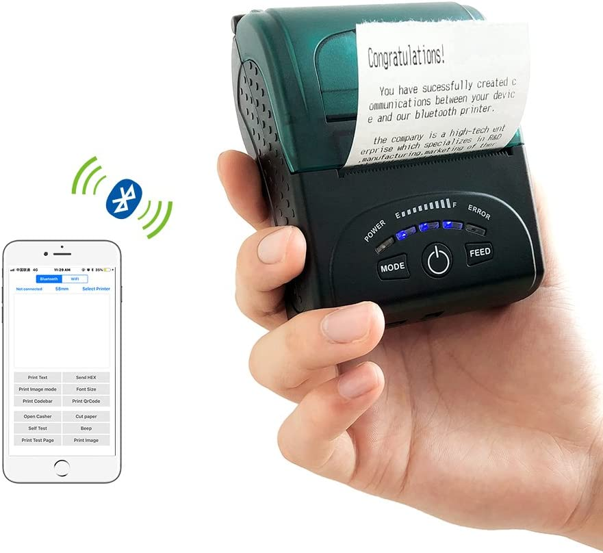 Thermal Receipt Printer Portable Personal Mobile Printer Mini Wireless Bluetooth Printer for Android Systems, 58MM USB Thermal Printer Compatible with ...