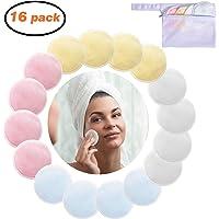 Abschminkpads Waschbar, 16 Stücke Wiederverwendbare Wattepads Makeup Entferner Pads mit Wäschebeutel zur Gesichtsreinigung für sämtliche Hauttypen MEHRWEG
