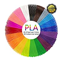 PLA 3D Pen Filament Refills(20 Colors, 16.4 Feet Each) - PHANED 3D Printing Pen Filament 1.75mm Total 328 Feet Lengths for MYNT3D, Scribbler V3, Soyan, 7TECH, LIX, Manve, Sunlu 3D Pen from PHADEN