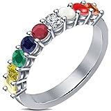 PeenZone 92.5 Sterling Silver Navratna Ring For Unisex