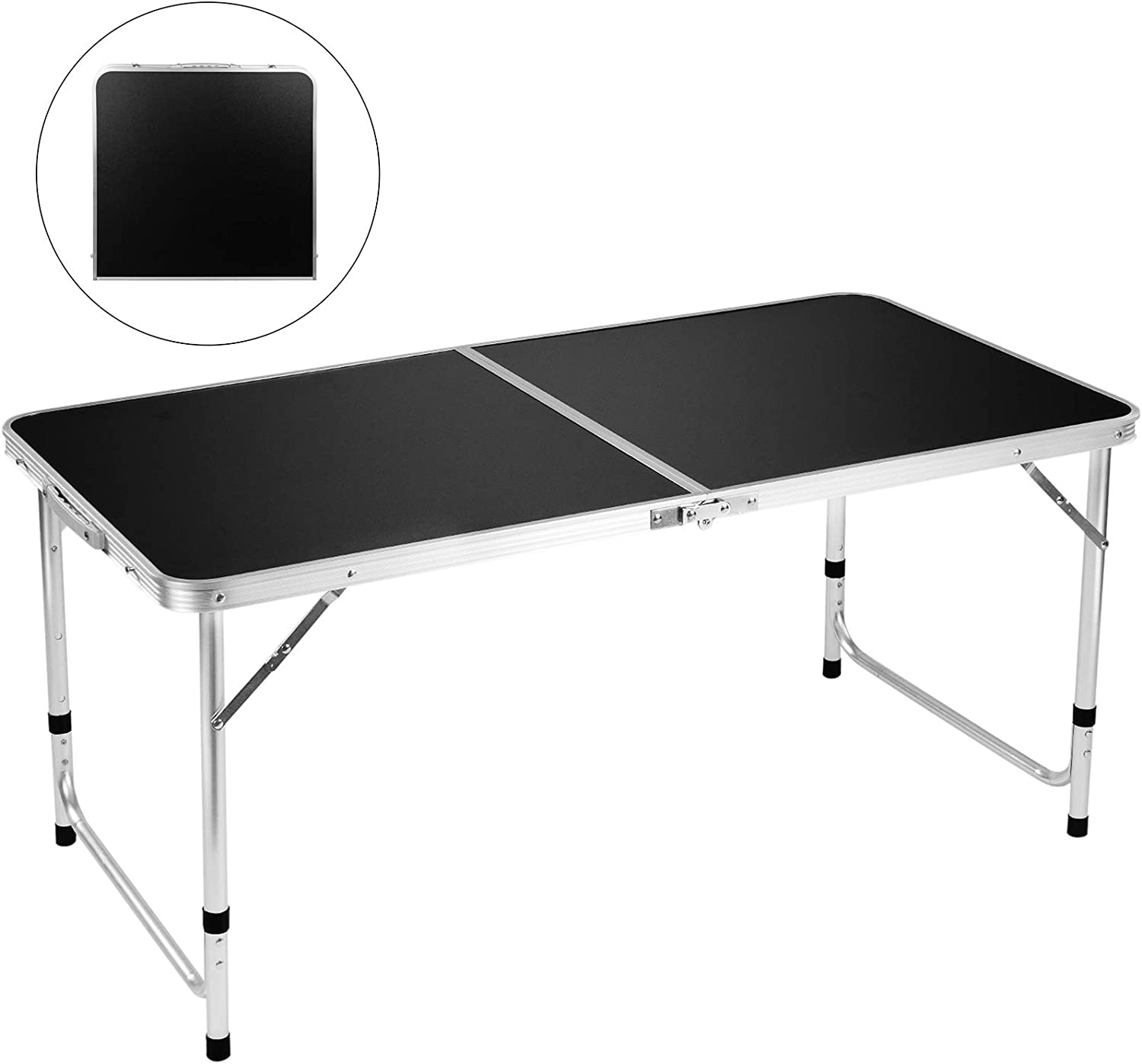 "Folding Camping Table, FiveJoy 4 FT Aluminum Height Adjustable Lightweight Desk/w Portable Handle, Roll Up Top Weatherproof and Rust Resistant Table for Outdoor Picnic Beach Backyard, 47"" x 24"", Black: Kitchen & Dining"