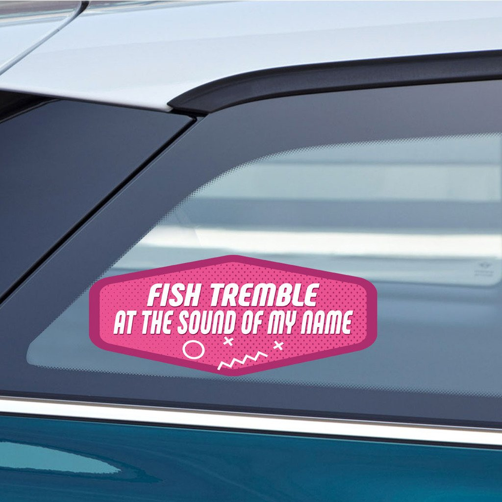 Amazon com makoroni fish tremble at the sound of my name sticker decal car laptop wall sticker decal 3by8 small or 4 5by10 5 large automotive