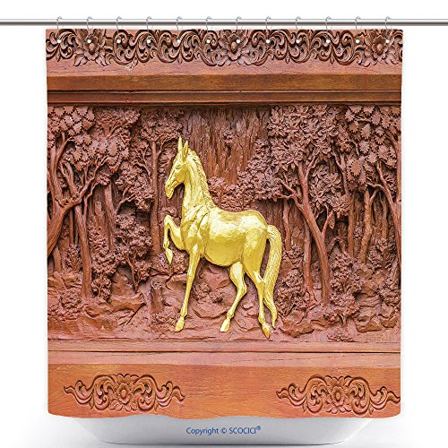 Cool Shower Curtains Horse Wood Carvings In Thai Land 280648637 Polyester Bathroom Shower Curtain Set With Hooks by