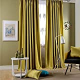 """Leyden Grommet Top Classic Solid Chartreuse Bright Velvet Curtains Curtain Drapes - 84Wx84""""L (One Panel) offers"""