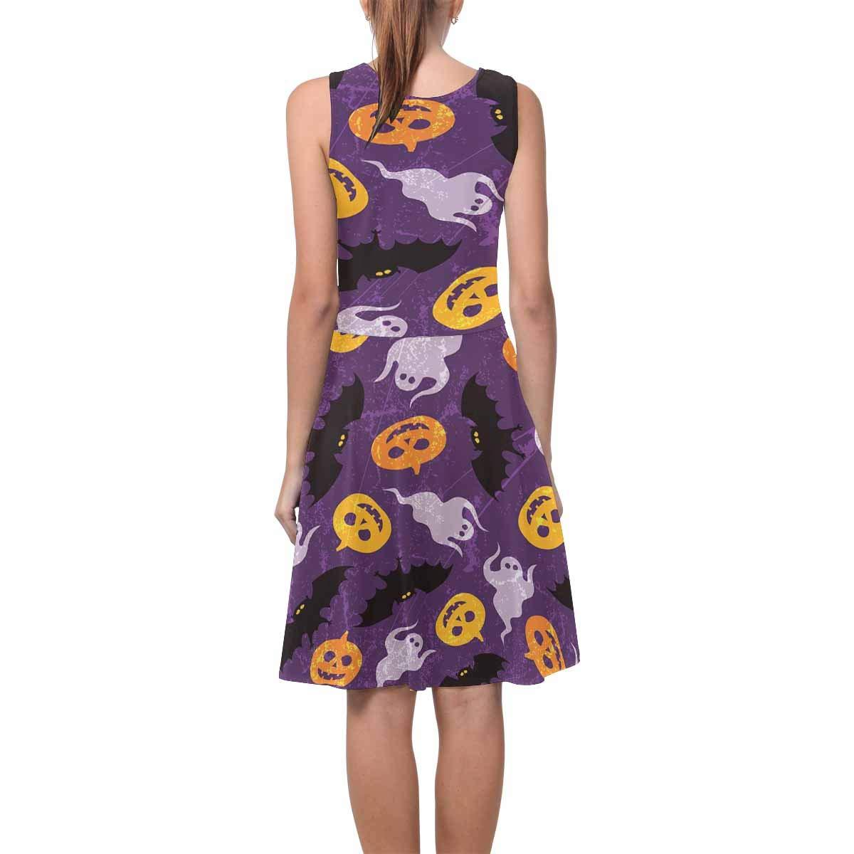 InterestPrint Womens Sleeveless Sundresses Halloween Ghosts Scoop Neck Flared Tank Dresseses XS-3XL