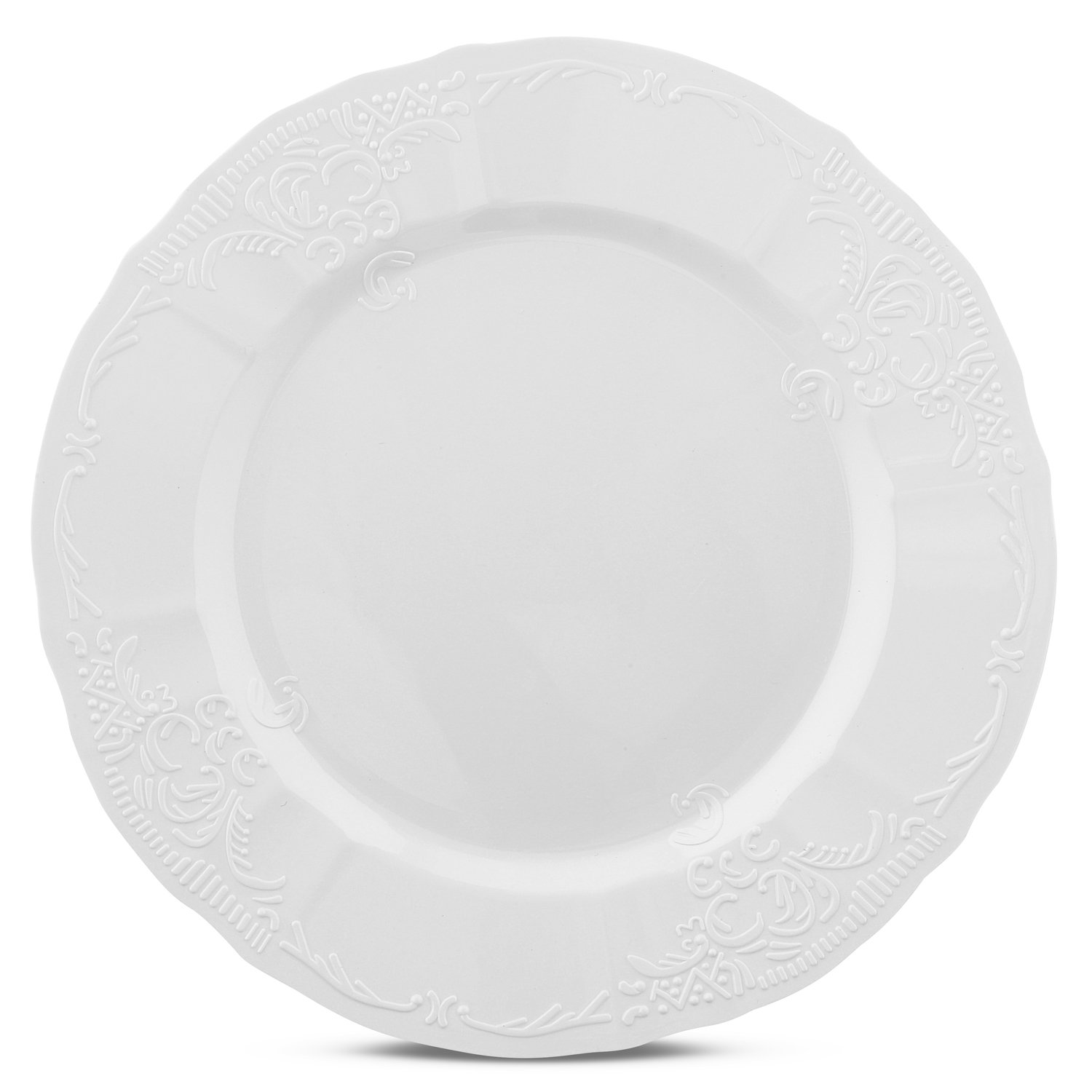 Disposable Wedding Party Plates with Embossed Flowers Design - Real China Look Plastic Dinnerware, Hard and Reusable (216 Piece Pack - White - 10'' Inch Round Scalloped)