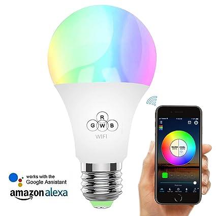 Rasse Smart LED Light Bulb, WiFi Light Bulbs 40W Equivalent, Dimmable RGB Multicolor LED Smart Light ...