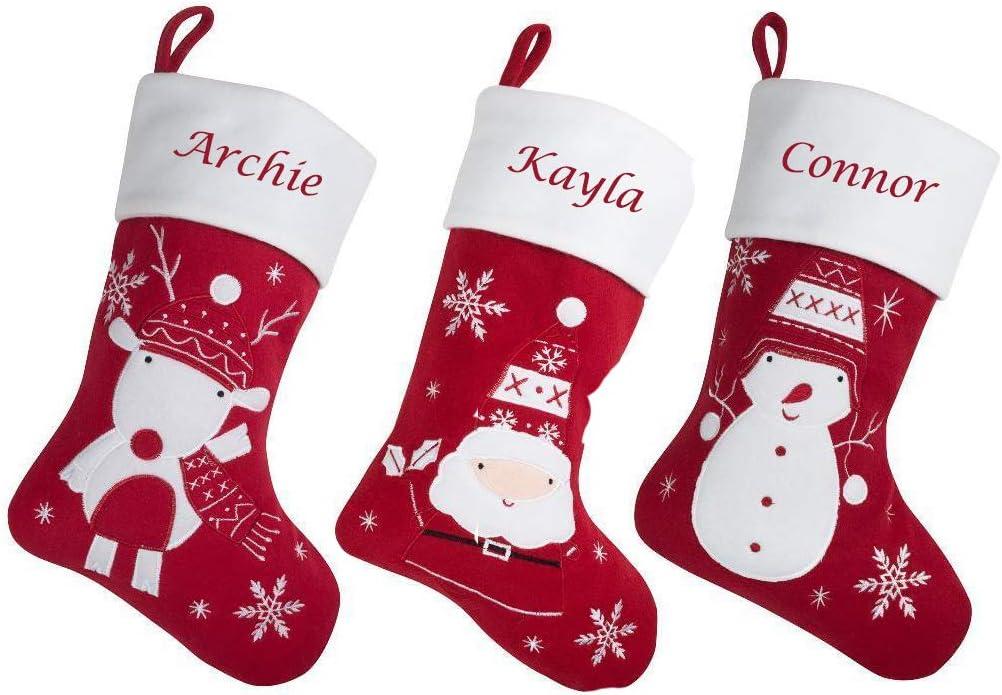 Hoolaroo Personalised Embroidered Christmas Stocking Boot Sock Red White Scandinavian Reindeer