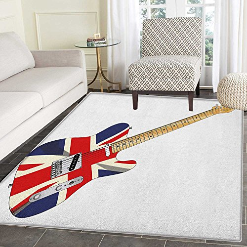 Union Jack Area Rug Carpet Classical Electric Guitar UK Flag
