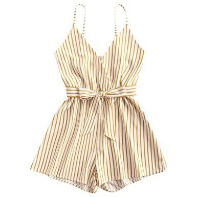 4d65f970d31d Amazon.com  ZAFUL Women Striped Surplice Cami Romper Crossover Playsuit Vertical  Stripes Spaghetti Strap Sleeveless Fall Spring Summer  Clothing